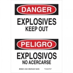 Brady 125215, Bilingual Danger Explosives Keep Out Sign
