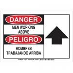 Brady 125277, Bilingual Danger Men Working Above Sign