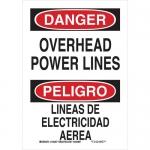 Brady 125299, Bilingual Danger Overhead Power Lines Sign