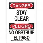 Brady 125317, 14″ x 10″ Polystyrene Bilingual Danger Stay Clear Sign