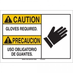 Brady 125323, Bilingual Caution Gloves Required. Sign