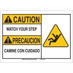 Brady 125331, 7″ x 10″ Aluminum Bilingual Caution Watch Your Step Sign