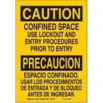 Brady 125355, 10″ x 7″ Aluminum Bilingual Caution Confined Space Sign