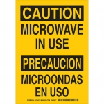 Brady 125418, Bilingual Caution Microwave In Use Sign