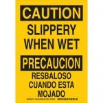 Brady 125451, Bilingual Caution Slippery When Wet Sign