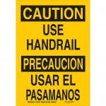 Brady 125469, 10″ x 7″ Aluminum Bilingual Caution Use Handrail Sign