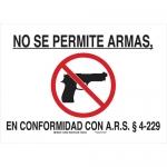Brady 125551, B-401 No Se Permite Armas En… Sign