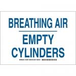 Brady 125595, 7″ x 10″ Aluminum Breathing Air Empty Cylinders Sign