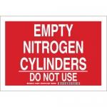 Brady 125652, Empty Nitrogen Cylinders Do Not Use Sign