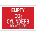 Brady 125667, 7″ x 10″ Aluminum Empty Co2 Cylinders Do Not Use Sign