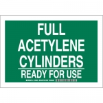 Brady 125682, Full Acetylene Cylinders Ready For Use Sign