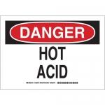 Brady 125872, 10″ x 14″ Polystyrene Danger Hot Acid Sign