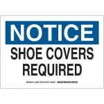 Brady 128429, 10″ x 14″ Polyester Notice Shoe Covers Required Sign