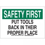 Brady 128446, First Put Tools Back In Their… Sign