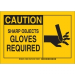 Brady 128602, Caution Sharp Objects Gloves Required Sign