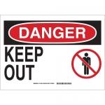 Brady 131648, 10″ x 14″ Aluminum Danger Keep Out Sign