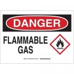 Brady 131798, 10″ x 14″ Polystyrene Danger Flammable Gas Sign