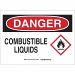 Brady 131808, 10″ x 14″ Polyester Danger Combustible Liquids Sign