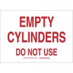 Brady 131896, 10″ x 14″ Aluminum Empty Cylinders Do Not Use Sign