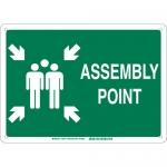 Brady 139577, 10″ x 14″ Fiberglass Assembly Point Sign, Green on White