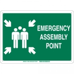 Brady 139595, ergency Assembly Point Sign, Green on White