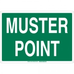 Brady 139614, 14″ x 20″ Fiberglass Muster Point Sign, Green on White