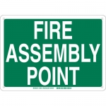 Brady 139631, Fire Assembly Point Sign, Green on White