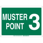 Brady 139677, 14″ x 20″ Fiberglass Muster Point 3 Sign, Green on White