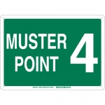 Brady 139686, 14″ x 20″ Fiberglass Muster Point 4 Sign, Green on White