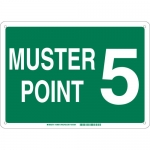 Brady 139694, 10″ x 14″ Fiberglass Muster Point 5 Sign, Green on White