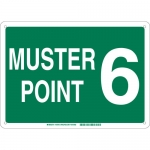 Brady 139705, 10″ x 14″ Fiberglass Muster Point 6 Sign, Green on White