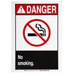 Brady 141908, Danger No Smoking. Sign, Black/Red on White