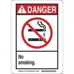 Brady 141913, Danger No Smoking. Sign, Black/Red on White