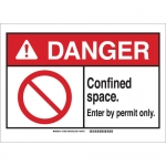 Brady 143667, Danger Confined Space. Enter By Permit