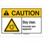 Brady 143928, Stay Clear. Automatic Start Equipment. Sign