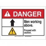 Brady 144009, 10″ x 14″ Plastic ANSI Sign, Legend: Men Working Above