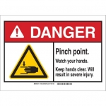 Brady 144031, Sign, Legend: Pinch Point. Watch Your Hands
