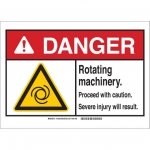 Brady 144041, 10″ x 14″ Plastic ANSI Sign, Legend: Rotating Machinery
