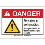 Brady 144059, Sign, Legend: Stay Clear of Swing Radius