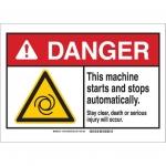 Brady 144080, Sign, Legend: This Machine Starts & Stops…