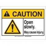 Brady 144327, 10″ x 14″ Plastic ANSI Sign, Legend: Open Slowly