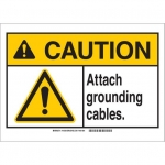 Brady 144352, ANSI Sign, Legend: Attach Grounding Cables