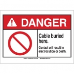 Brady 144361, 10″ x 14″ Plastic ANSI Sign, Legend: Buried Cable