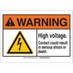Brady 144395, 10″ x 14″ Aluminum ANSI Sign, Legend: High Voltage