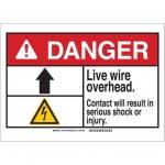 Brady 144443, 10″ x 14″ Plastic ANSI Sign, Legend: Live Wire Overhead