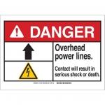Brady 144453, ANSI Sign, Legend: Overhead Power Lines