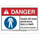 Brady 144874, ANSI Sign, Legend: Caustic Will Cause…