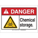 Brady 144884, 7″ x 10″ Aluminum Danger Chemical Storage. Sign