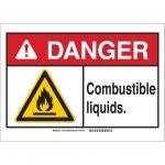 Brady 144915, 10″ x 14″ Plastic ANSI Sign, Legend: Combustible Liquids