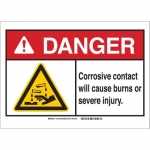 Brady 144944, ANSI Sign, Legend: Corrosive Contact Will..